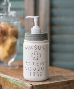 farmhouse pint mason jar lotion and soap dispenser white