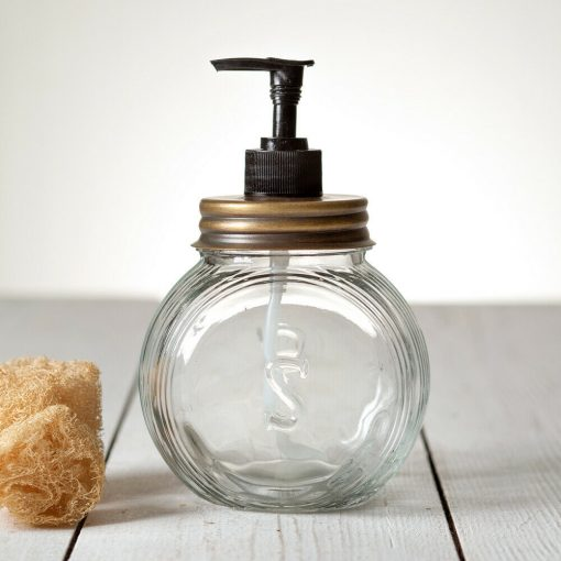 farmhouse soap dispenser glass antique brass