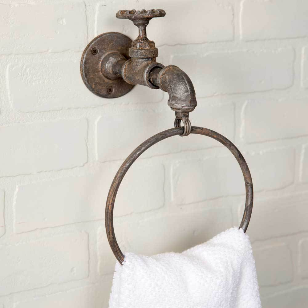 farmhouse water spigot wall mounted towel ring
