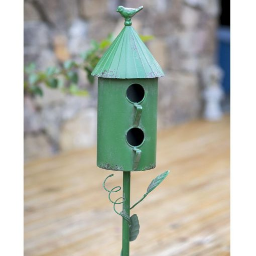 iron 2 story morning glory garden stake birdhouse