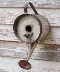 metal watering can garden decorative birdhouse