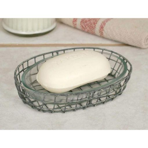 oval galvanized wire soap dish with glass liner