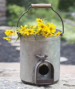 primitive country metal bucket birdhouse planter