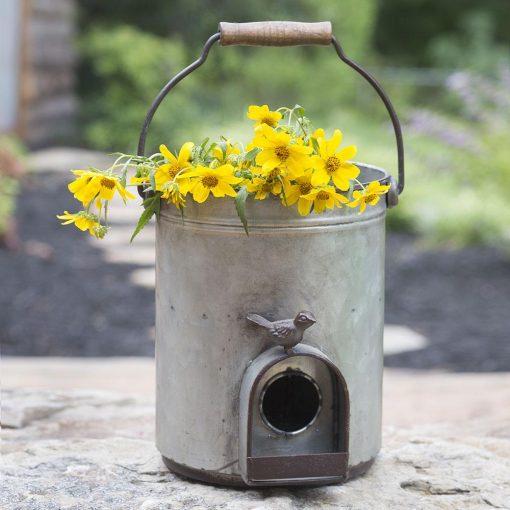primitive country metal bucket birdhouse planter
