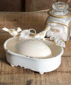 primitive country pair of birds white soap dish
