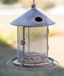 primitive silo hanging metal bird feeder
