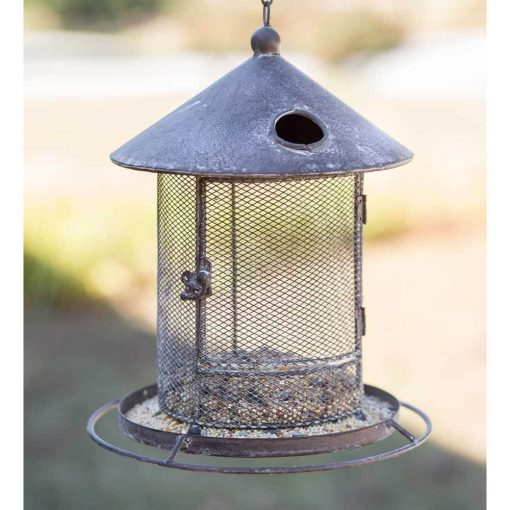 primitive silo hanging metal bird feeder