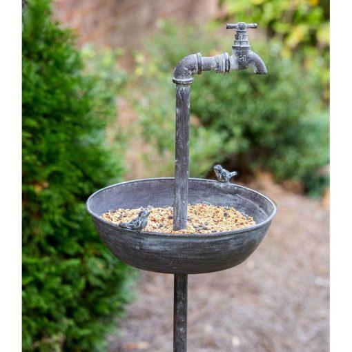 primitive spigot bird feeder garden stake