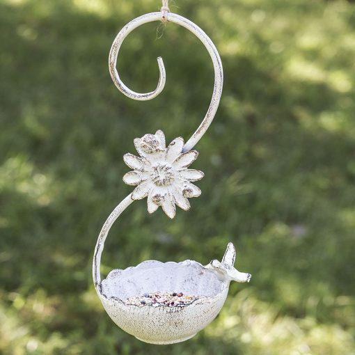rustic cast iron swirl hanging bird feeder