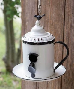 rustic coffee break hanging birdhouse white