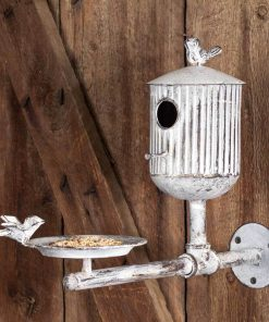 rustic country rooks roost bird feeder and birdhouse