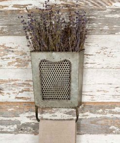 rustic galvanized steel wall box with towel bar