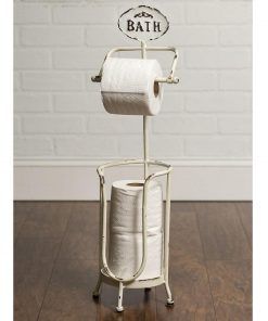 "rustic metal ""bath"" tissue stand toilet paper bath stand"