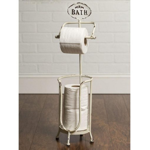 """rustic metal """"bath"""" tissue stand toilet paper bath stand"""