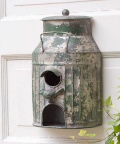 rustic metal milk can tin wall mount birdhouse