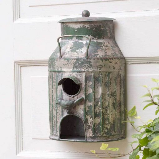 rustic metal milk can tin wall mount birdhouse
