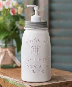 rustic white mason jar soap and lotion dispenser
