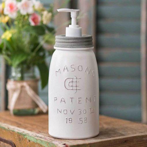 rustic white mason jar soap and lotion dispenser