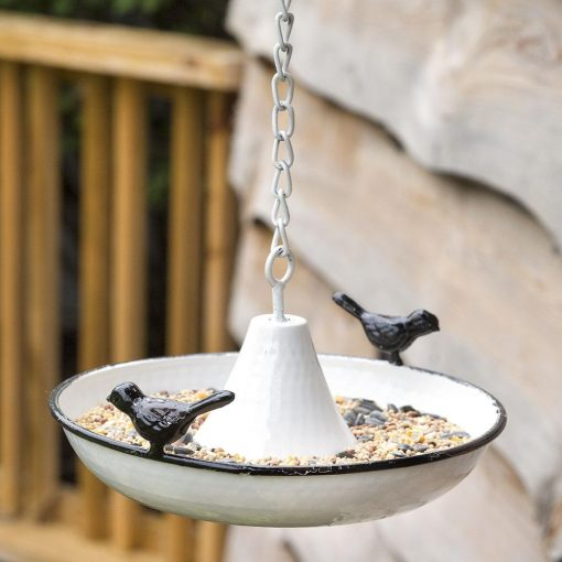 rutic hanging saucer birdfeeder with white