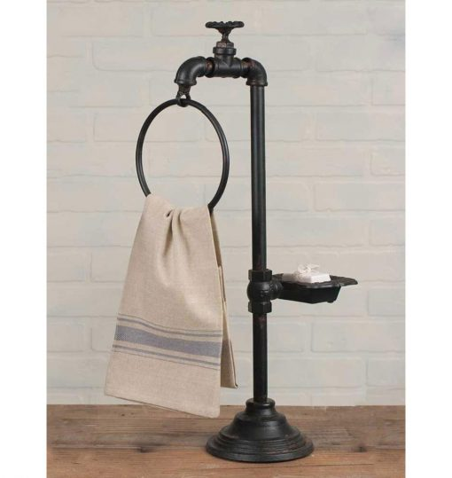 spigot soap and towel holder for bathroom decor