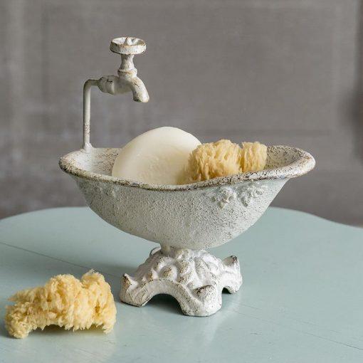 vintage bath tub soap dish white