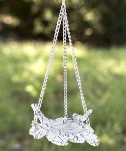 vintage cast iron hanging leaf bird feeder
