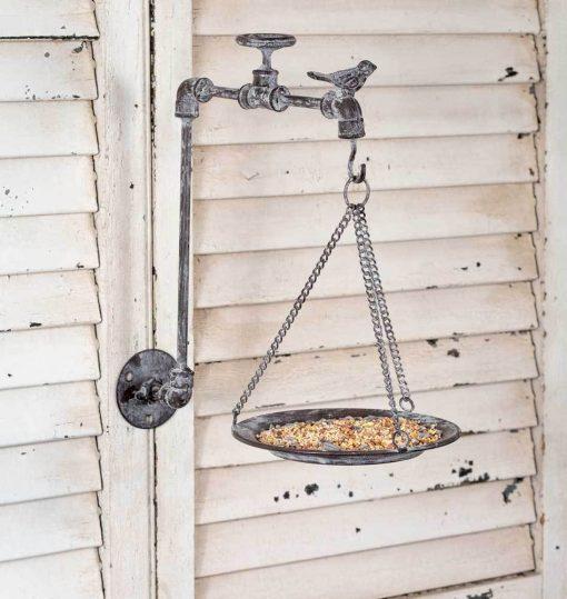 vintage garden spigot wall mounted bird feeder