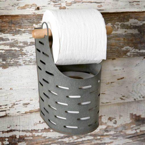 vintage metal olive bucket toilet paper holder