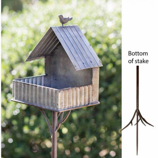 Carmela Galvanized Open Cottage Bird Feeder Garden Stake