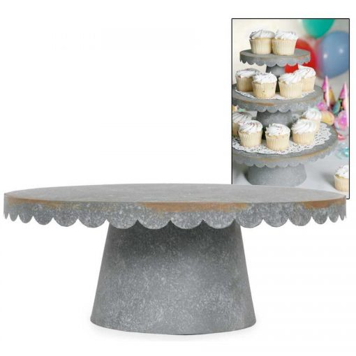 sonia 3 sizes gray scalloped cupcake stand barn roof