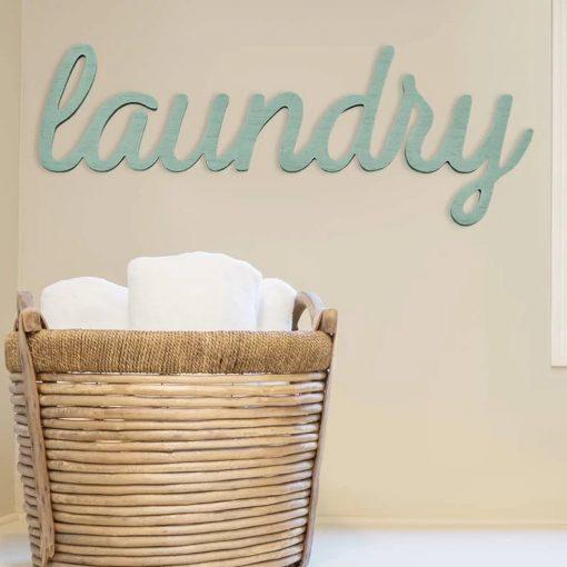abigail teal laundry wall décor