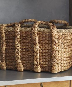 adalia charming brown handled storage rattan basket