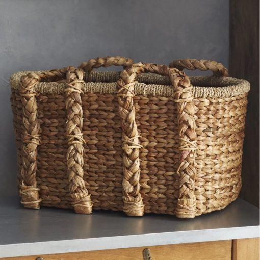 adalia charming brown handled storage rattan basket