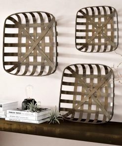 adelaide distressed 3 piece tobacco wood wall décor set