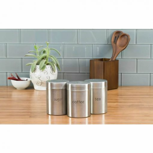 adelaide stainless steel coffee,tea,sugar kitchen canister set of