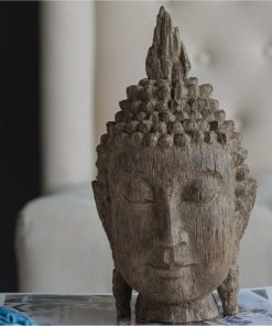 adelia distressed ood and resin buddha head decor