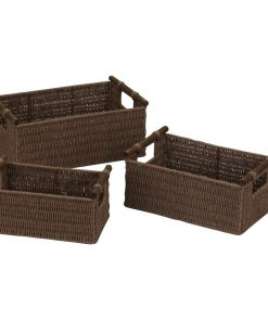 adena brown paper rope 3 piece basket set