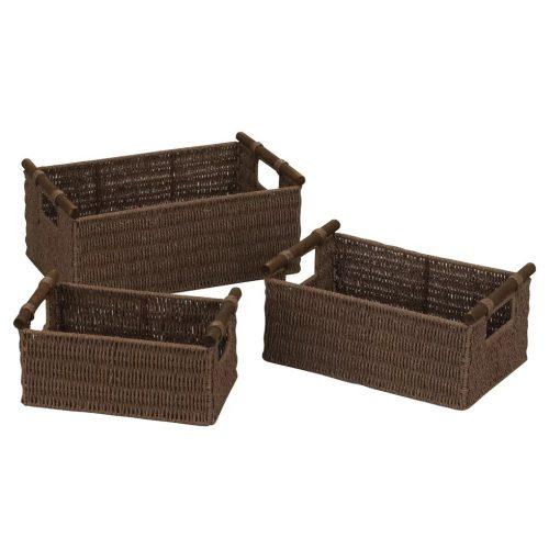 adena brown paper rope 3 piece basket set