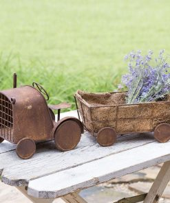 aderyn mini rustic tractor and wagon planter