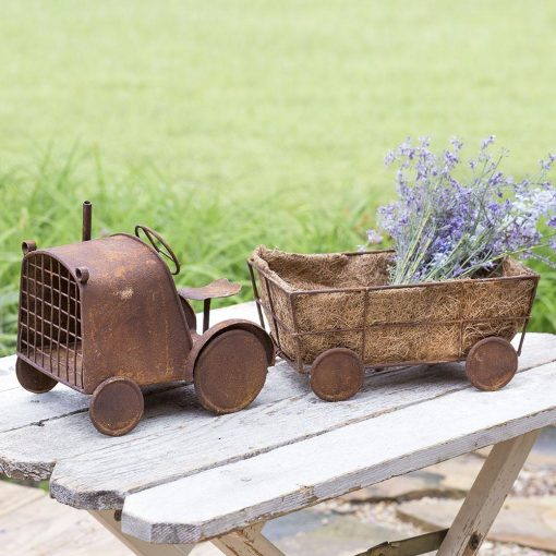 aderyn mini rustic tractor and wagon planter