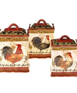 adler multicolored rooster stoneware kitchen canister set of