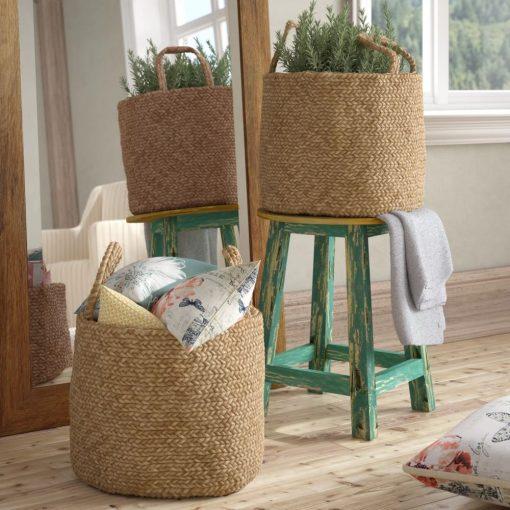 adrian 2 piece braided natural jute basket set