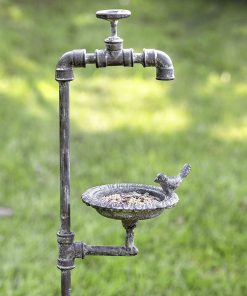 aeliana rustic faucet and bird garden stake feeder