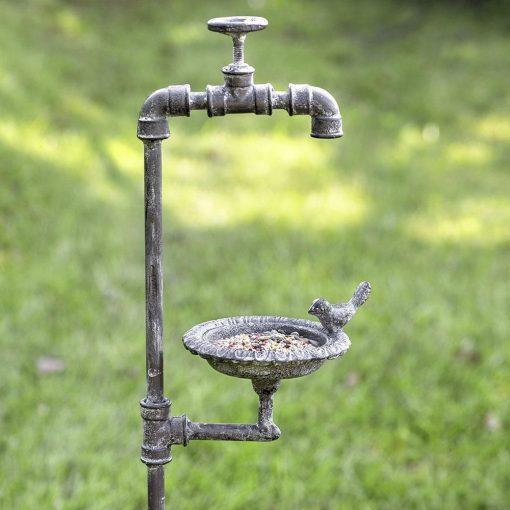 aeliana rustic faucet and bird garden stake feeder