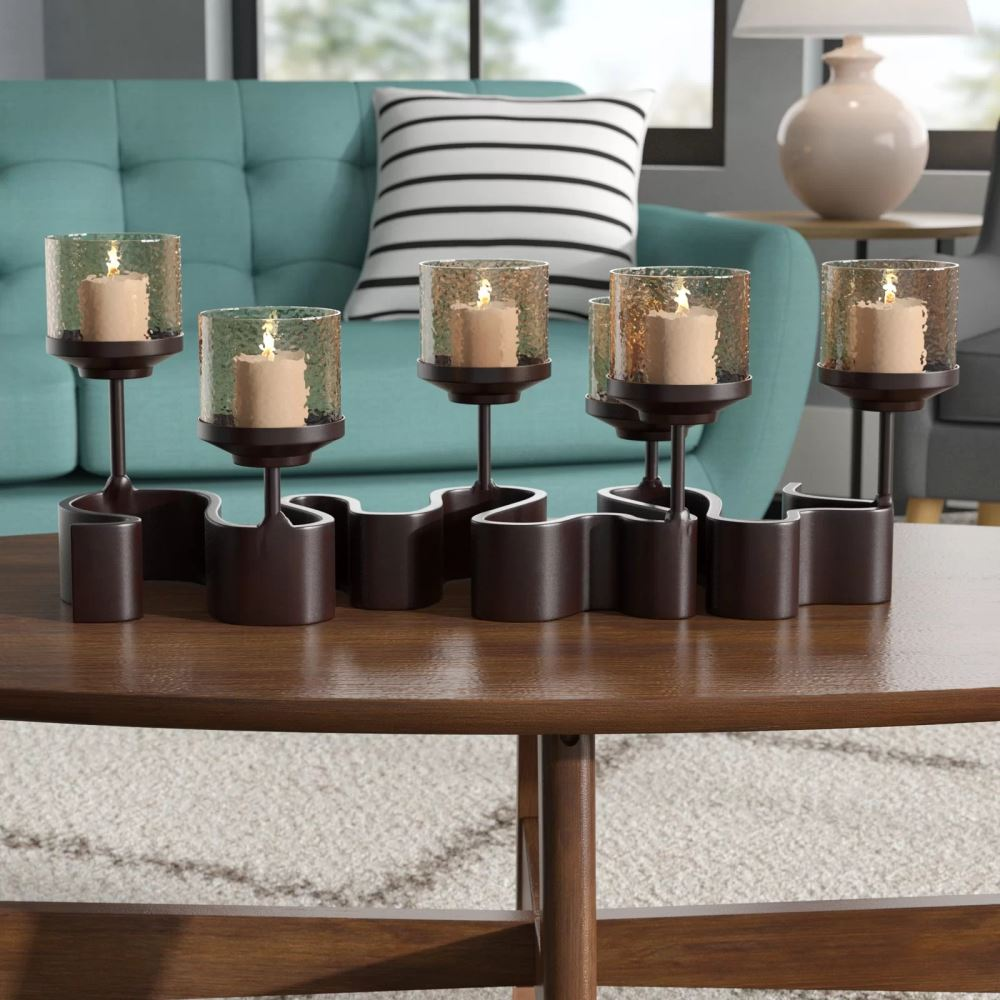 aghavni 5 tealight candles arete glass candelabra