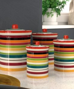 aghavni colorful stripe motif ceramic kitchen canister set of