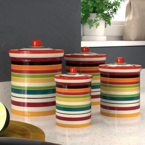 aghavni colorful stripe motif ceramic kitchen canister set of
