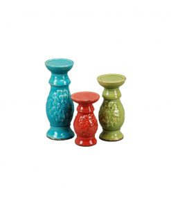 aiko 3 piece rustic ceramic candlestick set
