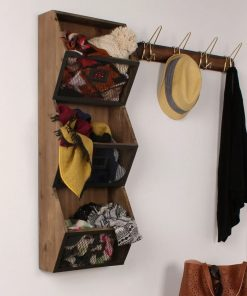 albertine rustic wood and 3 piece metal wall vertical storage baskets