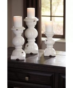 alissa rustic 3 piece glazed ceramic candlestick set